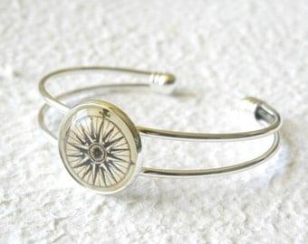 Antique Compass Cuff Bangle Bracelet - Choose your Compass