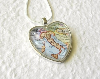 Italy Map Necklace - Heart Shaped Also featuring Rome, Florence, Naples, Siciliy, and Venice - personalized map jewelry