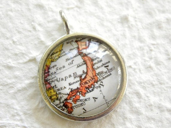 Japan Map Necklace - Featuring Tokyo, Hokkaido, Kyoto, Osaka, Nagasaki, and more Choose your favorite from 9 maps