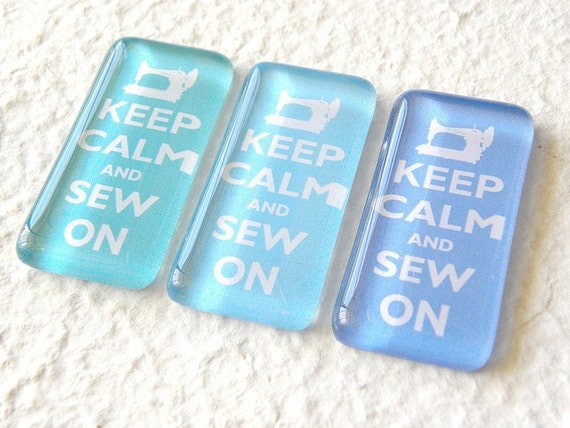 Keep Calm and Sew On Aqua Blue Magnet Set - Crystal Waters