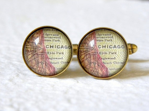 Chicago Map Cufflink Set - YOU choose from 46 map choices - Great Groomsmen Gift or Fathers Day gift - Chicago Cuff Link Set - Map Accessory