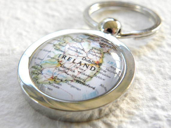 Ireland Map Keychain Key Chain featuring Dublin, Cork, and more