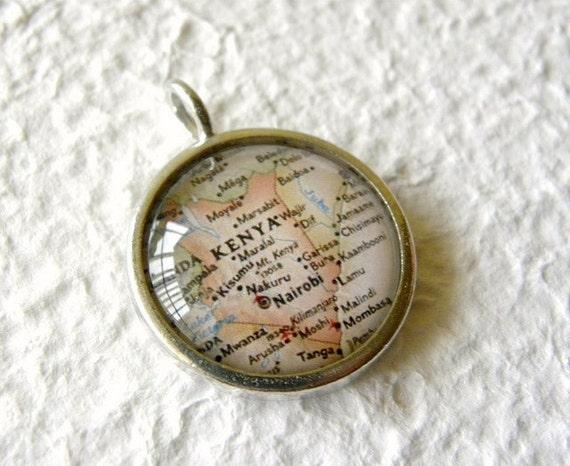 Kenya Map Necklace - Kenya, Africa featuring Nairobi and Mombasa - Great Child Adoption Gift