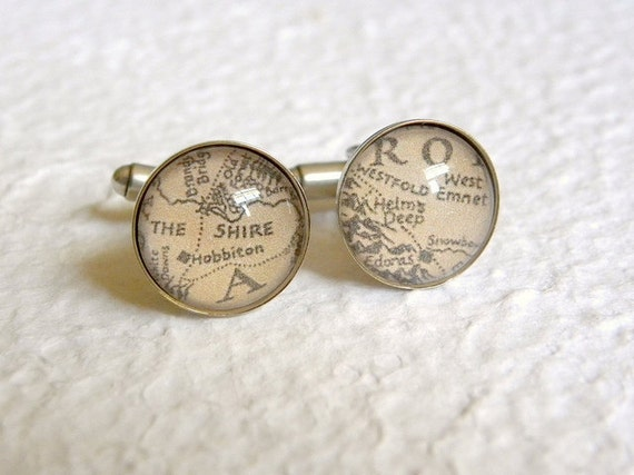 Map of Middle Earth From Lord of The Rings Cuff Links Cufflinks - Choose from The Shire, Rivendell, Lorien, Rohan, Gondor, and many more