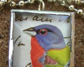 COLORFUL BIRD and BUTTON NECKLACE