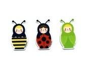 Russian Doll Ladybug Bug Magnet Set