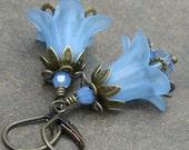 Soft Blue Lucite Flower Earrings, Antique Brass Leverbacks, Swarovski Crystals... Something Blue, Flower Jewelry