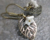 Ivory Flower Leaf Earrings, Glass Flowers Antique Brass Handmade Earwires... Nature Inspired Woodland Floral Jewelry