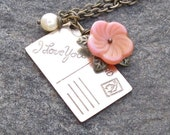 I Love You Necklace, Engraved Brass Postcard, Freshwater Pearl, Glass Flower Charm... Romantic Jewelry Gift for Her