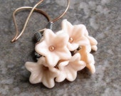Pink Flower Cluster Earrings, Sterling Silver and Copper... Cherry Blossom Flower Jewelry
