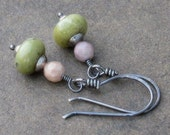 Oxidized Sterling Silver Gemstone Earrings, Mossy Green & Mauve Stones, Hand Forged Artisan Earwires