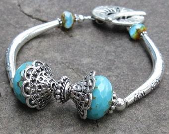 Turquoise Flex Bangle Bracelet, Silver Floral Etched Tubes and Ornate Sunburst Toggle Clasp... Bold Statement Bracelet