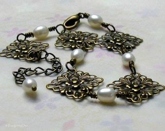 Floral Filigree Pearl Bracelet, Antique Brass Adjustable - REDUCED - Vintage Style Bridal, June Birthday Gift for Her
