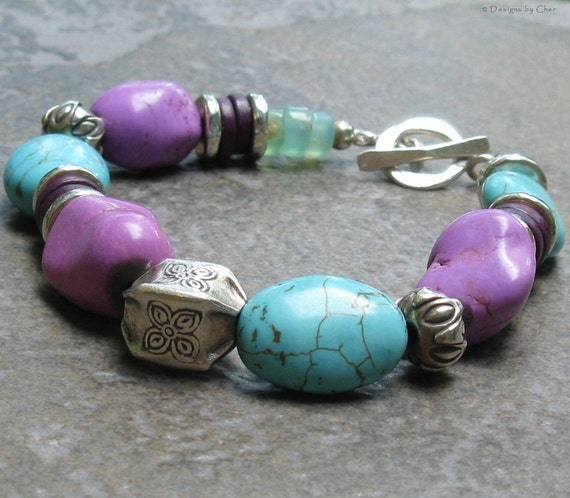 Purple and Blue Turquoise Toggle Bracelet, Hill Tribes Fine Silver & Amazonite Slices