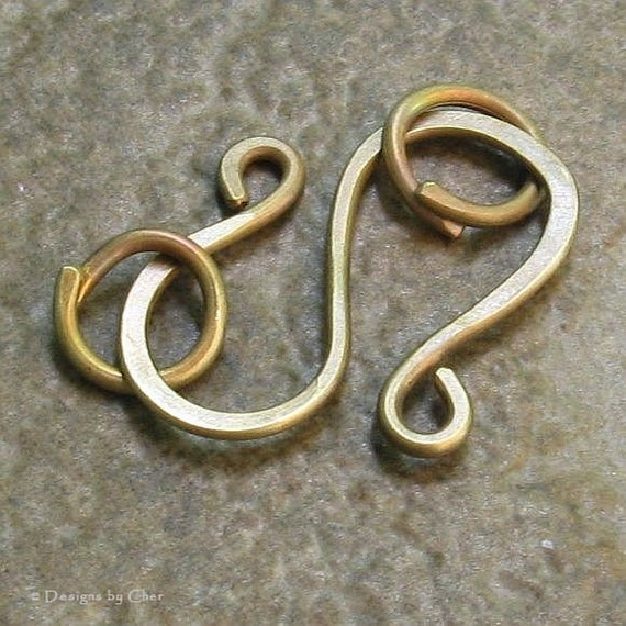 Antiqued Brass Large S Clasp, Hand Forged, 16 gauge - 3pcs