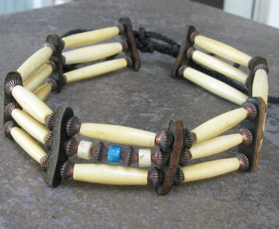Boho Hippie Native Bone Choker, Vintage Handmade Turquoise, Leather, Antique Copper
