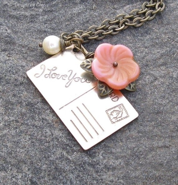 I Love You Postcard Charm Necklace, Engraved Brass, Freshwater Pearl, Glass Flower Charm, Romantic Jewelry Gift for Her