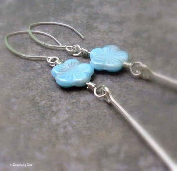 Picasso Blue Long Stem Flower Earrings, Hand Forged Sterling Silver ... Flower Jewelry