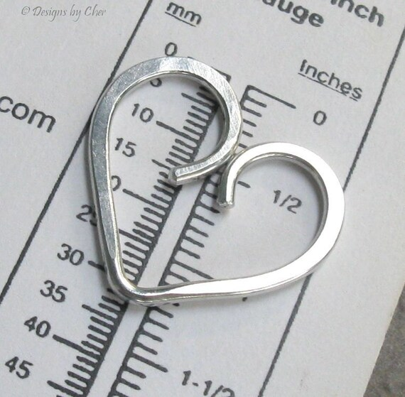 Medium Aluminum Open Heart, Modern Asymmetrical Style... Jewelry Making, Add Beads or Charms
