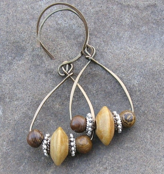 Wooden Tribal Earrings with Brown, Tan Vintage Beads, Hand Forged Bronze Teardrops & Earwires