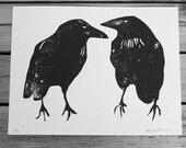 Crow Woodcut Block Print  9 x 12