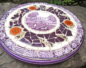 "14"" Copeland Wood and Sons Vintage China purple transferware pique assiette Mosaic Lazy Susan"