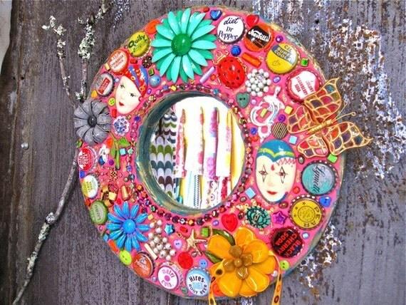 Mod Mad Hot Pink Vintage Jewelry Mosaic Round Mirror
