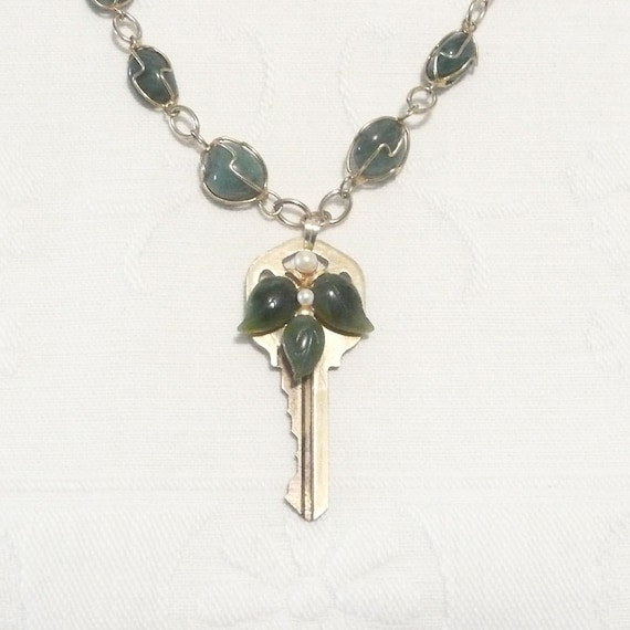 Brass Key with Leaves Pendant on Wire Wrapped Stone Necklace