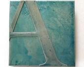 Custom Ice Blue Metal Letter Art, 5 inch