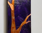 Copper art branch purple tree plum copper patina wall art etched metal artwork gift for nature lovers by Copper Leaf Studios