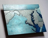 Maryland, Washington DC Metal Art Map, 8x10 inches