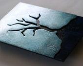 Blue Tree metal wall art