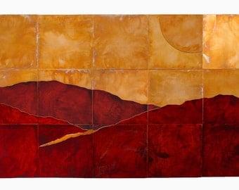 Split Sun LARGE Copper Landscape Artwork, Copper and red sunset art, Large copper wall art, nature artwork landscape by Copper Leaf Studios