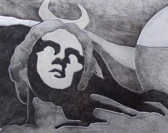 Luna Greek statue gray tones etched metal artwork, Large metal wall art of Classical statue, Original cut metal art by Copper Leaf Studios