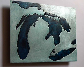 Great Lakes Michigan Metal Art Map, 8x10 inches