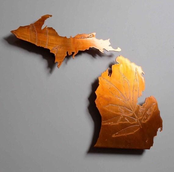 Copper Michigan map art