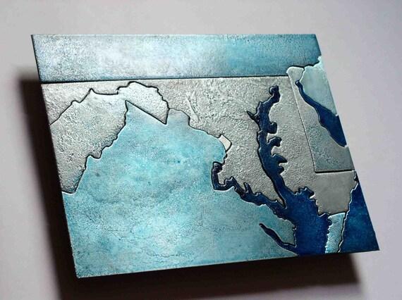 Maryland, Washington DC Metal Art Map, 8x10 inches