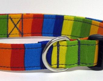 Celebrate Suess Primary Stripe Designer Cotton Fabric Handmade Dog Collar Size LARGE