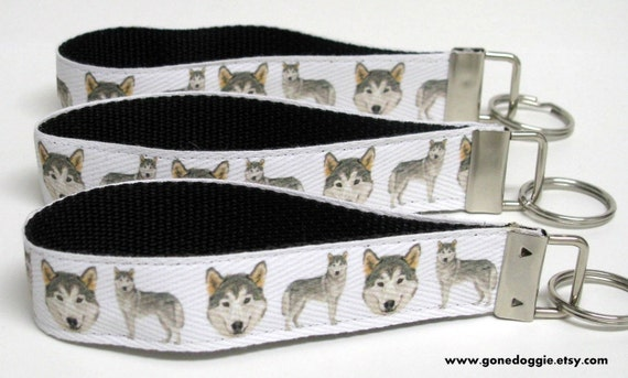 Siberian Husky Handmade Wristlet KeyFob/Keychain ONLY ONE LEFT