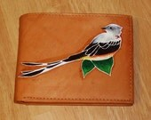 Hand Painted New Slim Tan Leather Wallet - Oklahoma Scissortail Flycatcher