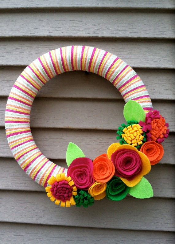 Pink, Orange, Yellow, and Green Yarn Wreath with Felt Flowers - great for Summer