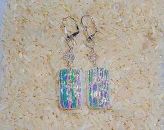 AURORA borealis fused glass dichroic earrings
