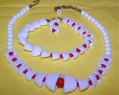 1950s Red and White Glass Bell Necklace and Bracelet