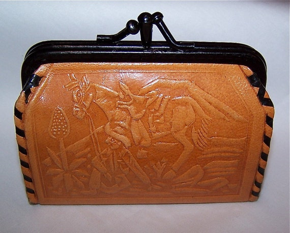 Vintage Western Tooled Leather Change Purse