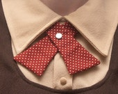 Womens Neck Tie - Brown Brick Red with White Polka Dots