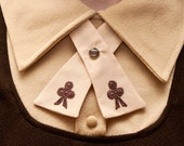Womens Neck Tie - Nude & Brown  - Lace Flower Adornments