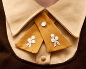 Womens Neck Tie - Mustard - Lace Flower Adornments