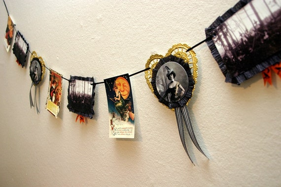 Victorian Witch Halloween Garland Vintage Inspired