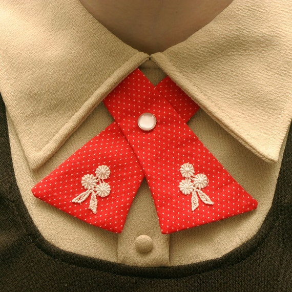 SALE Womens Neck Tie - Red & White Polka Dots - Lace Flower Adornments