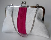 SALE - Fresh White and Hot Pink Faux Leather Metal Frame Kiss Lock Clutch